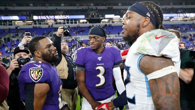 Baltimore Ravens running back Mark Ingram and Tennessee Titans running back Derrick Henry