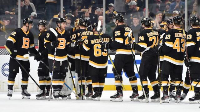 Boston Bruins' Brad Marchand, Brandon Carlo