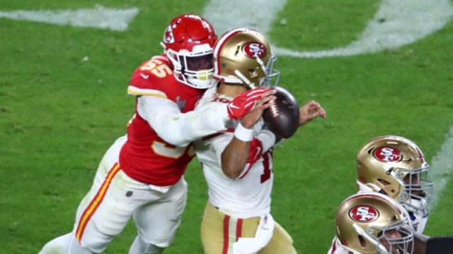 Kansas City Chiefs defensive end Frank Clark, San Francisco 49ers quarterback Jimmy Garoppolo