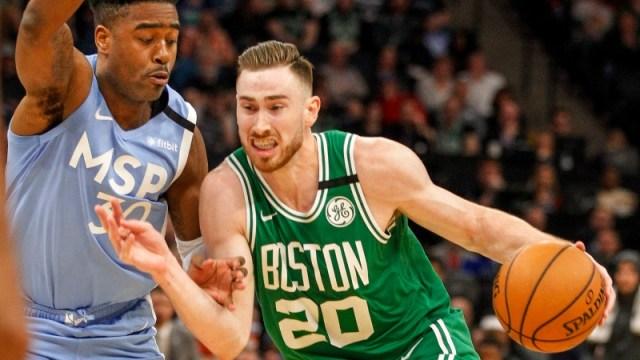 Celtics forward Gordon Hayward (20) and Minnesota Timberwolves forward Kelan Martin (30)