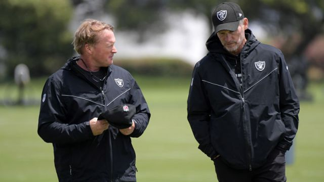 Las Vegas Raiders head coach Jon Gruden and general manager Mike Mayock