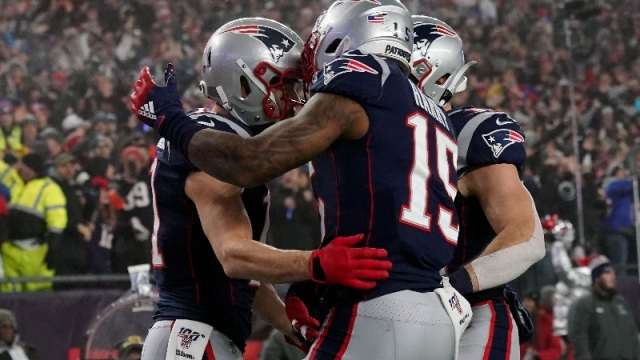New England Patriots wide receiver Julian Edelman (11), wide receiver N'Keal Harry (15) and running back Rex Burkhead (34)