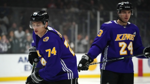 Los Angeles Kings left wing Nikolai Prokhorkin and right wing Dustin Brown
