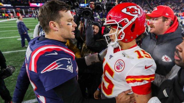 Kansas City Chiefs Quarterback Patrick Mahomes and Tampa Bay Buccaneers Quarternack Tom Brady