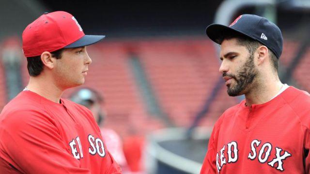 Boston Red Sox's Triston Casas and J.D. Martinez
