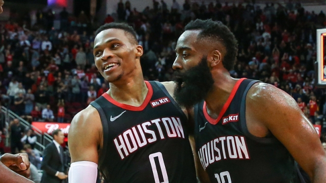 Houston Rockets' James Harden, Russell Westbrook