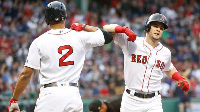 Boston Red Sox's Xander Bogaerts, Andrew Benintendi