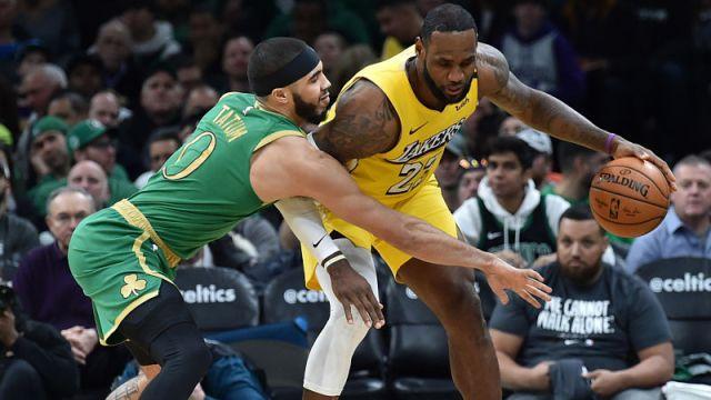 Boston Celtics forward Jayson Tatum and Los Angeles Lakers forward LeBron James