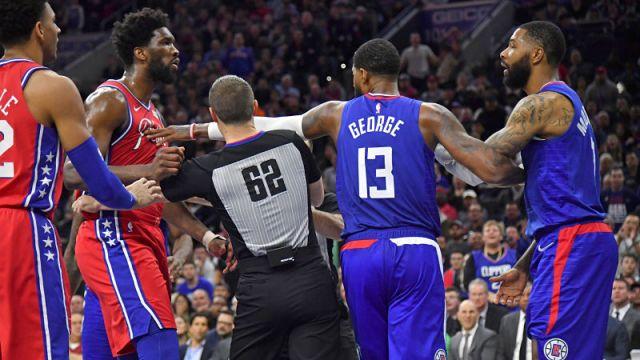 Philadelphia 76ers center Joel Embiid and LA Clippers forward Marcus Morris Sr.