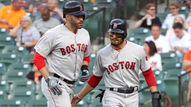 Boston Red Sox teammate Mookie Betts and J.D. Martinez