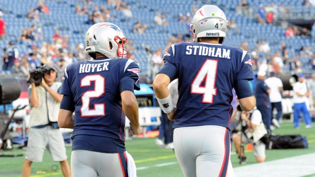 Patriots quarterbacks Brian Hoyer, Jarrett Stidham