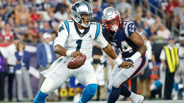 Carolina Panthers quarterback Cam Newton and New England Patriots linebacker Dont'a Hightower