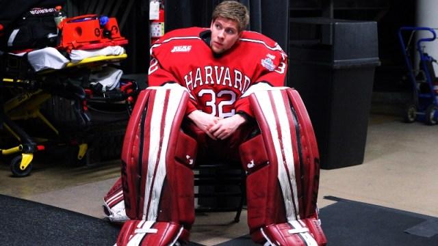 Harvard goaltender Cameron Gornet