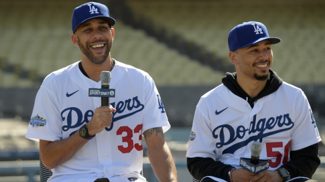Los Angeles Dodgers pitcher David Price (left) and outfielder Mookie Betts