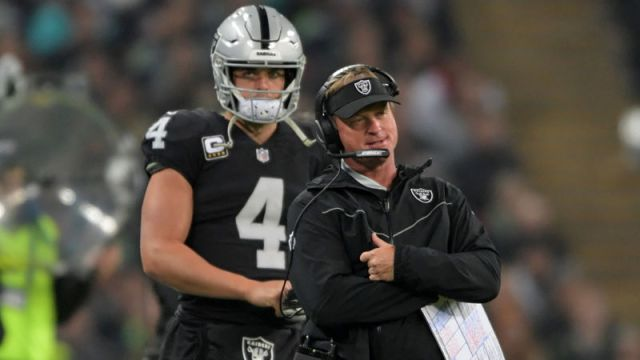 Las Vegas Raiders quarterback Derek Carr and head coach Jon Gruden