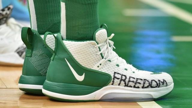 Boston Celtics Center Enes Kanter's sneakers