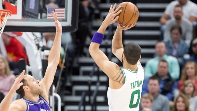 Boston Celtics forward Jayson Tatum (0) and Utah Jazz forward Bojan Bogdanovic (44)