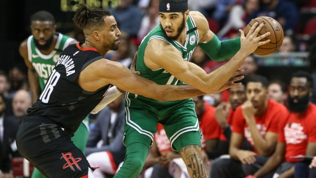 Boston Celtics forward Jayson Tatum (0) and Houston Rockets forward Thabo Sefolosha (18)