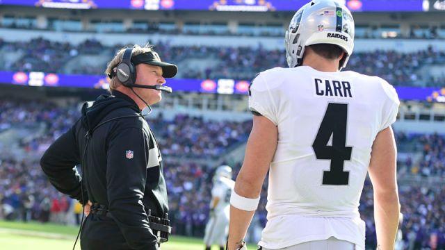 Las Vegas Raiders head coach Jon Gruden and quarterback Derek Carr
