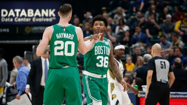 Boston Celtics forward Gordon Hayward and guard Marcus Smart