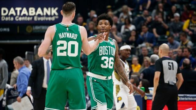 Boston Celtics Forward Gordon Hayward And Guard Marcus Smart