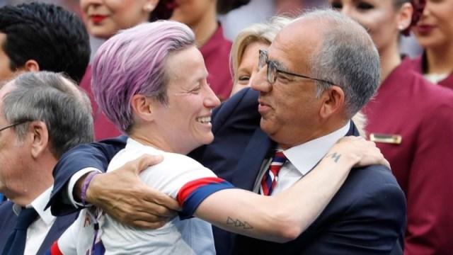 USWNT forward Megan Rapinoe, US Soccer President Carlos Cordeiro