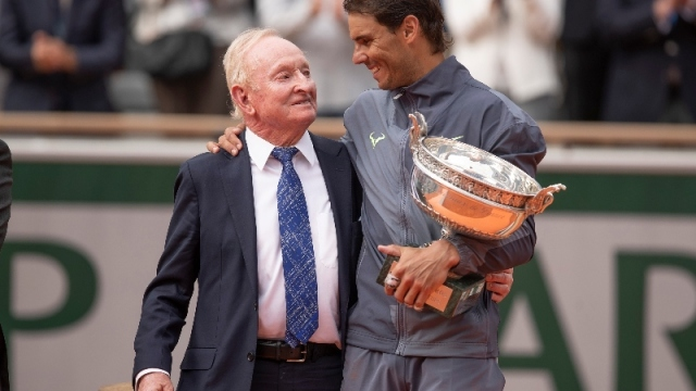 Rafael Nadal (right) and Rod Laver