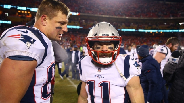New England Patriots wide receiver Julian Edelman (11) and former tight end Rob Gronkowski (87)