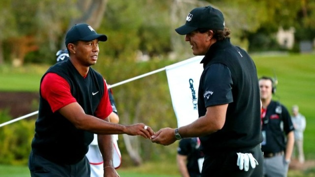 Golfers Tiger Woods, Phil Mickelson