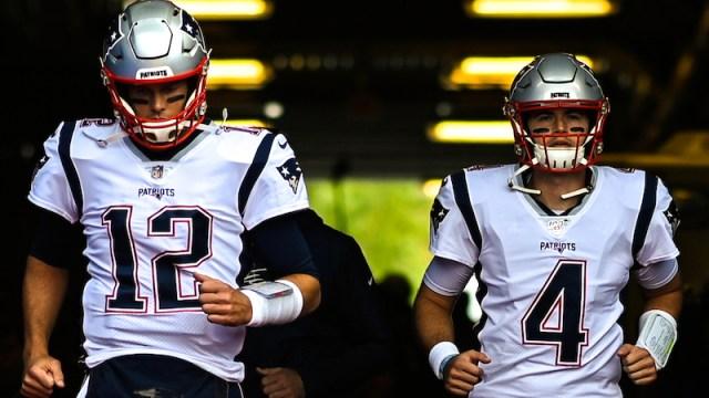 Patriots quarterbacks Tom Brady, Jarrett Stidham