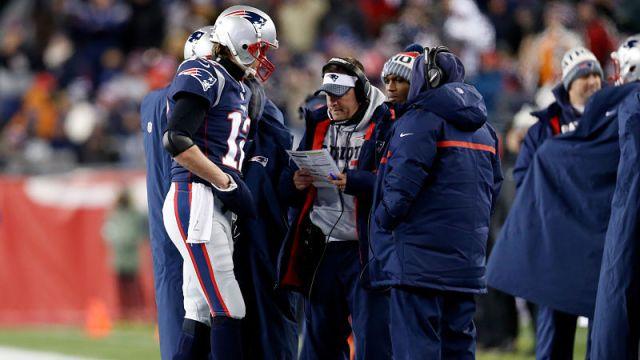 New England Patriots quarterback Tom Brady and offensive coordinator Josh McDaniels