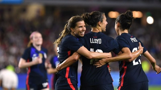 USWNT' forwards Tobin Heath, Carli Lloyd and Christen Press
