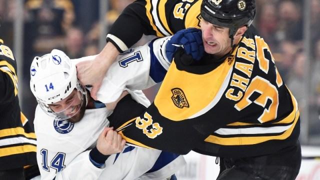 Boston Bruins defenseman Zdeno Chara and Tampa Bay Lightning left wing Pat Maroon (14)