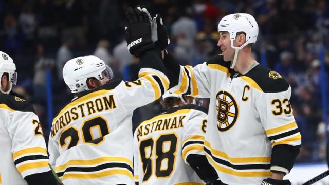 Boston Bruins' Joakim Nordstrom And Zdeno Chara
