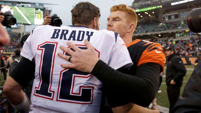 New England Patriots quarterback Tom Brady and Cincinnati Bengals quarterback Andy Dalton