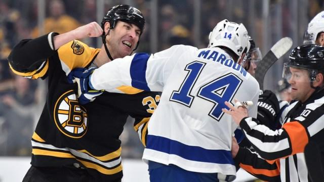 Bruins defenseman Zdeno Chara, Lightning winger Pat Maroon