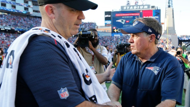Texans head coach Bill O'Brien, Patriots head coach Bill Belichick