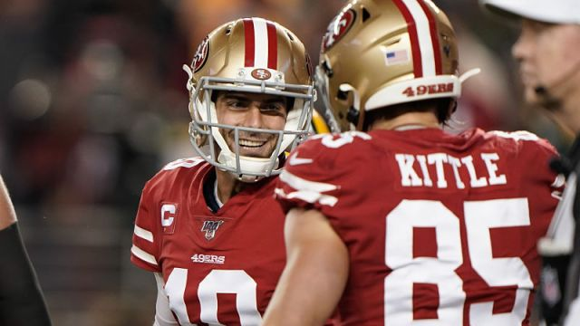 San Francisco 49ers quarterback Jimmy Garoppolo and tight end George Kittle