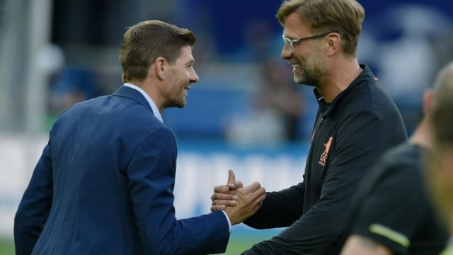 Liverpool legend Steven Gerrard (left) and manager Jurgen Klopp