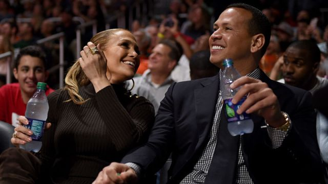 Recording artist Jennifer Lopez and former New York Yankees baseball player Alex Rodriguez