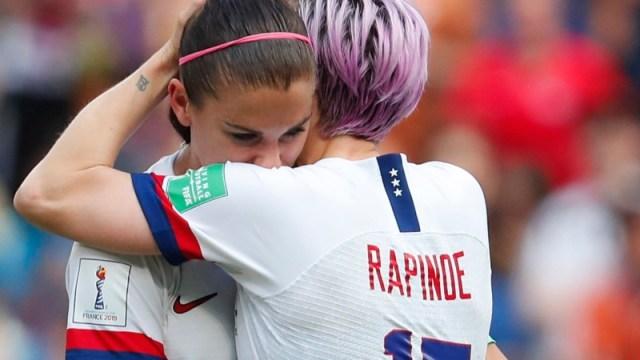 United States women's soccer team forwards Alex Morgan (left) and Megan Rapinoe