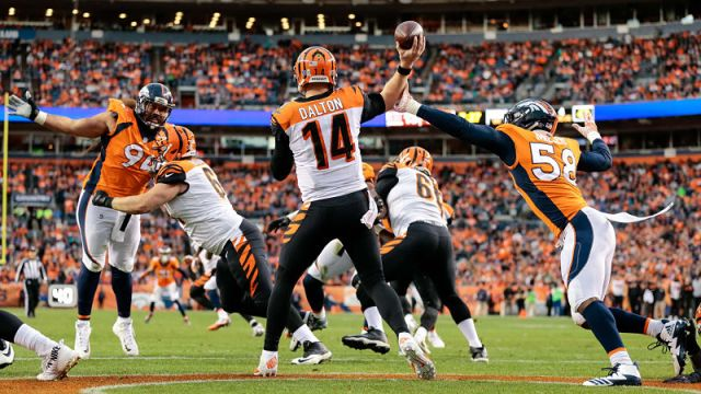 Dallas Cowboys quarterback Andy Dalton and Denver Broncos linebacker Von Miller