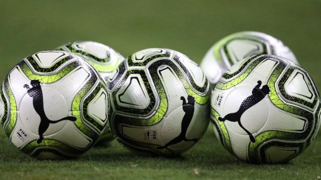A general view of a Puma soccer balls