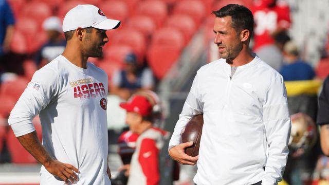 San Francisco 49ers quarterback Jimmy Garoppolo and head coach Kyle Shanahan