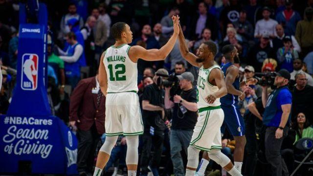 Boston Celtics forward Grant Williams and guard Kemba Walker