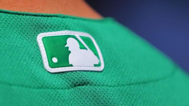 A view of the Major League Baseball logo