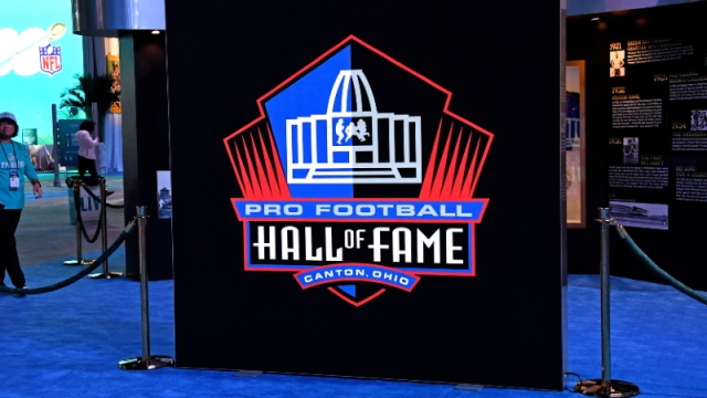 A detail shot the Pro Football Hall of Fame sign