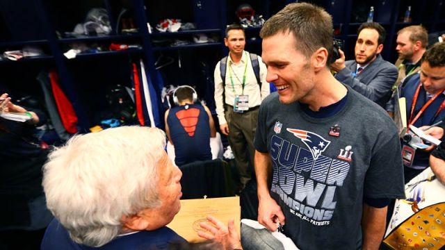 New England Patriots owner Robert Kraft and Tampa Bay Buccaneers quarterback Tom Brady