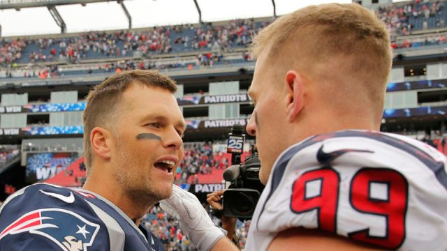Tampa Bay Buccaneers quarterback Tom Brady and Houston Texans defensive end J.J. Watt