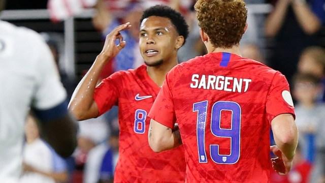 United States midfielder Weston McKennie (left) and striker Josh Sargent